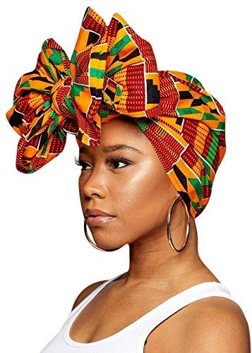KENTE Head Scarfs and Wraps African Print Turban Hats (Green, Black and Orange)