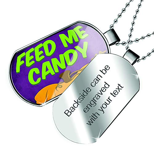 NEONBLOND Personalized Name Engraved Feed Me Candy Halloween Pumpkin Top Dogtag Necklace -