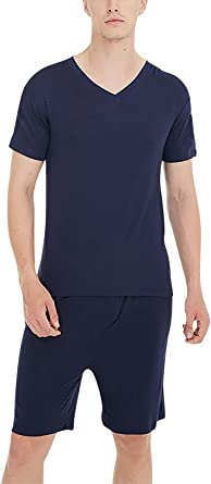 YAOMEI Pijamas para Hombre Algodón Modal Corto, 2020 Hombre Primavera Verano Camisones Pijamas de Parejas Ropa de Dormir, Camisa lencería con ...