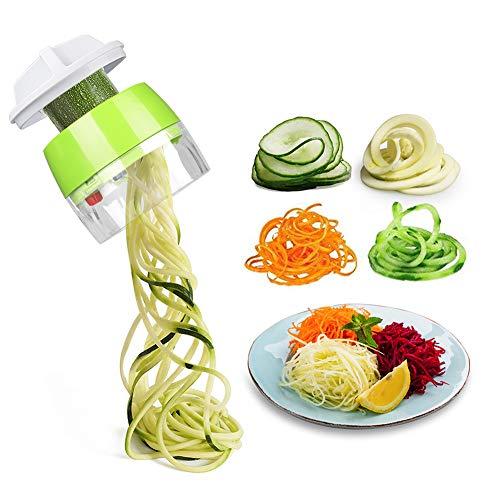 MFTEK Spiralizer Vegetable Slicer, 4 in 1 Handheld Spiral Slicer Cutter Veggie Pasta Spaghetti Maker for Vegetable, Fruit, Carrots, Zucchini, Cucumber