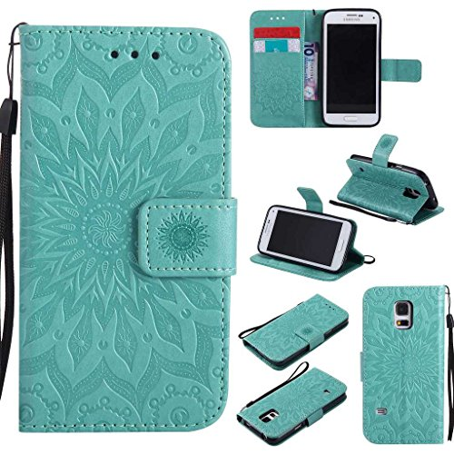 Galaxy S5 Mini Case, KKEIKO® Galaxy S5 Mini Flip Leather Case [with Free Tempered Glass Screen Protector], Shockproof Bumper Cover and Premium Wallet Case for Samsung Galaxy S5 Mini (Flower)