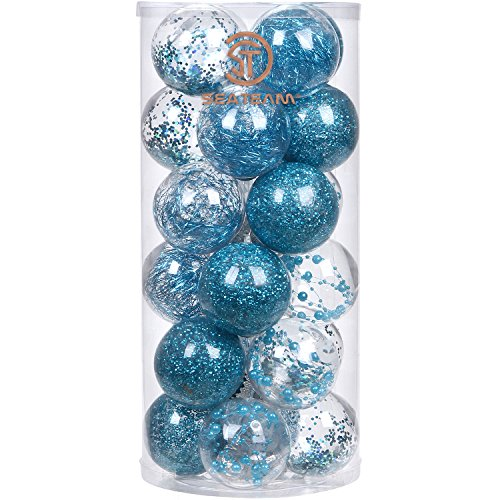 """Sea Team 70mm/2.76"""" Shatterproof Clear Plastic Christmas Ball Ornaments Decorative Xmas Balls Baubles Set with Stuffed Delicate Decorations (24 Counts, Babyblue)"""