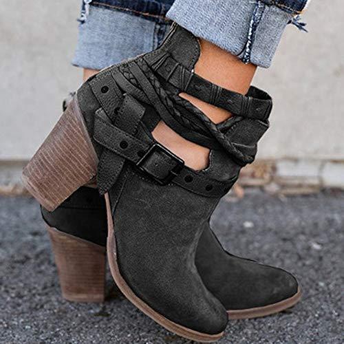 Botas, JiaMeng Mujer Nieve Plana del Tobillo Botas de Moto Cuero de Gamuza Femenino Zapatos Botas cálidas Botas Botas Cortas Botines (Negro, ...