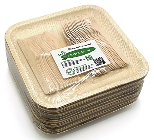 "Price comparison product image Holiday Party Dinnerware Eco Set of 75 Disposable: Large 10"" Square Palm Leaf Plates (25),  Wood Forks(25) & Knives (25) - Compostable"