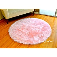 Faux Fur Baby Pink Nursery Round Shaggy Shag Area Rug Pink Ultra Suede Backing Faux Sheepskin (30 inches Diameter)