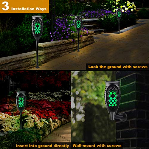 Juhefa Solar Lights Outdoor, Solar Torch Light Green Flickering Flame 99 LED Waterproof Garden Lighting Pathway Patio Landscape Decoration, 3 Modes & 3 Installation Ways, Dusk to Dawn Auto On/Off (4) by Juhefa (Image #1)