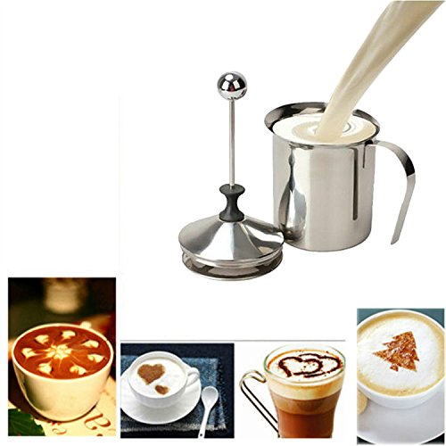 Fenguh 400ML Stainless Steel Double Mesh Milk Coffee Frother Milk Foamer Milk Pump Home