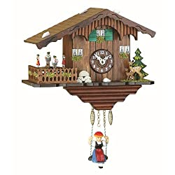 Kuckulino Black Forest Clock Swiss House with quartz movement and cuckoo chime, turning dancers, incl. battery TU 2019 SQ