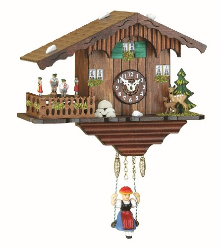 - Trenkle Kuckulino Black Forest Clock Swiss House with Quartz Movement and Cuckoo Chime, Turning Dancers TU 2019 SQ