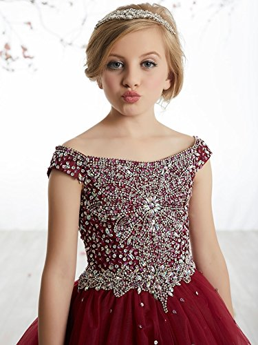 Girls Off the shoulder Glitz Sequins Hollow Corset Beauty Pageant Dress for Teens08 US Purple by Yc (Image #2)