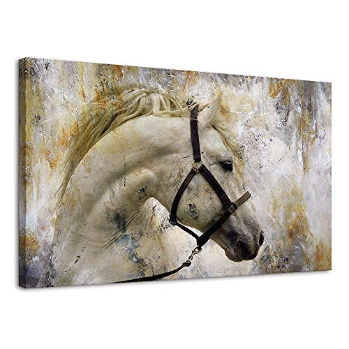 Horse Artwork - BYXART Horses Wall Art Canvas Prints Home Decor Artwork Moder Abstract Animal Painting Pictures Framed Wall Art for Living Room Home Decoration Ready to Hang (Grey, 24x36in)