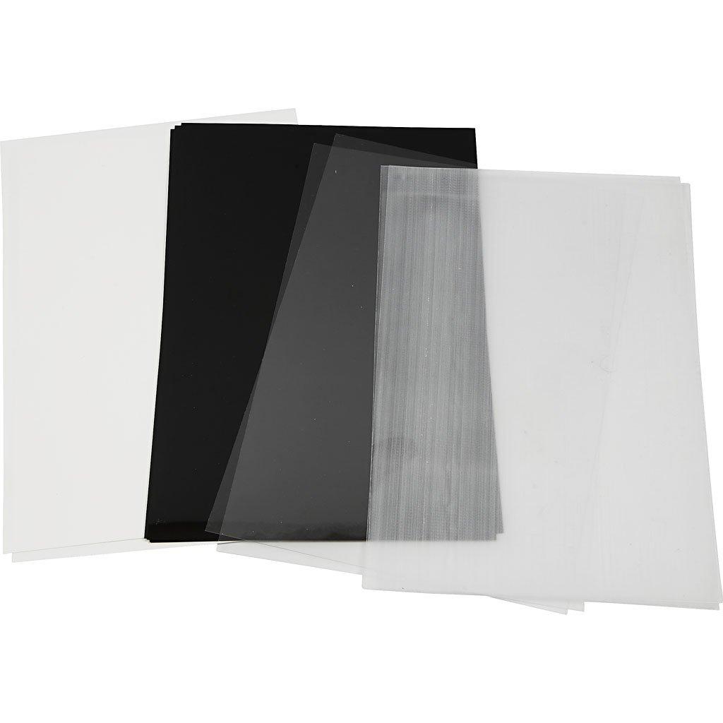 Creativ Company 79099 hoja de plástico retráctil - Hojas de plástico retráctil (Negro, Transparente, Blanco, 20 cm, 30 cm, 4 hojas)