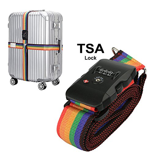 TSA Travel Luggage Strap with 3 Dial Approved Lock, Adjustable Suitcase Belt Packing Travel Tags for Airport Security and Baggage Claim - Strap Secure Luggage