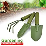 Tookit 3pcs Garden Tool Sets, Gardening Plant Pot Includes Spade,Shovel and Rake Vegetable Herb Garden Hand Tool Kits for Digging Weeding Loosening Soil Aerating Transplanting (Green)