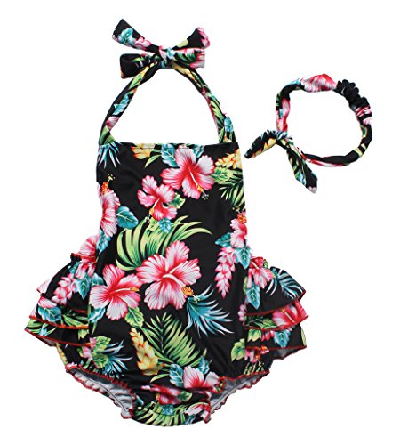 One Piece Redbub Floral Ruffles Rompers Bathing Suits Dress With Headband (Large,Black) -