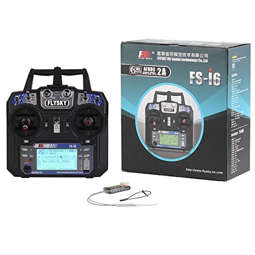 RCmall Flysky FS-i6 2.4G 6CH RC Transmitter and Receiver FS-iA6 for Airplane Heli UAV Multicopter Drone