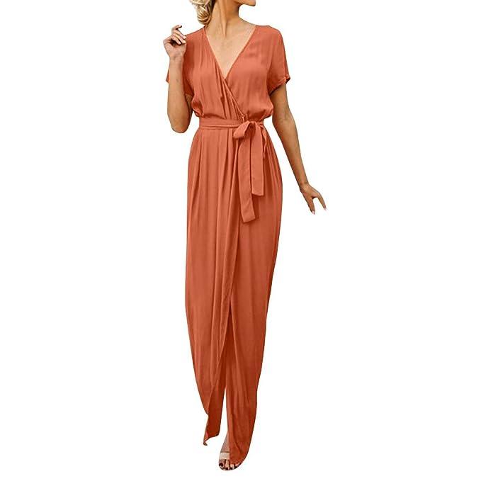 e501b9d10932 Ginli Abito Lungo Elegante Donna Vestito Elegante da Donna Profondo Scollo  A V Abito Casual Maxi Abito