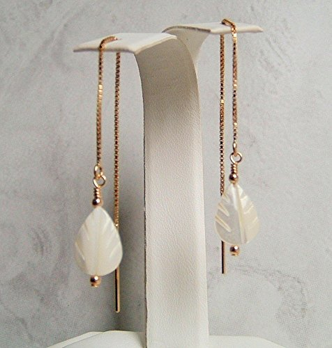White Mother Of Pearl Shell Carved Leaf Round Earrings 14K Gold Filled Ear Threaders