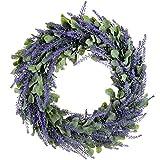 SNOWINSPRING Artificial Wreath, Door Wreath 17 Inch Lavender Spring Wreath Round Wreath for The Front Door, Home Decor
