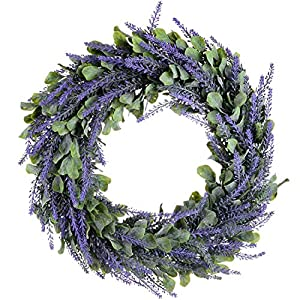 TOOGOO Artificial Wreath, Door Wreath 17 Inch Lavender Spring Wreath Round Wreath for The Front Door, Home Decor 73