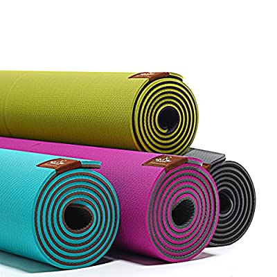 """Heathyoga TPE YOGA MAT: Eco-Friendly, Non-Slip ,Widen&Lengthen Size : 26""""(65cm) x 71""""(181cm),Thickness:7mm. Guide the Auxiliary Line Design, Great for Beginners and Advanced Yogis,SGS tested."""