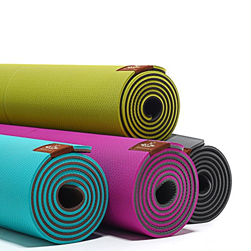 "LIMITED TIME DEAL Heathyoga Eco Friendly Non Slip Yoga Mat, Body Alignment System, SGS Certified TPE Material Textured Non Slip Surface and Optimal Cushioning, 72""x 26"" Thickness 1/4"""