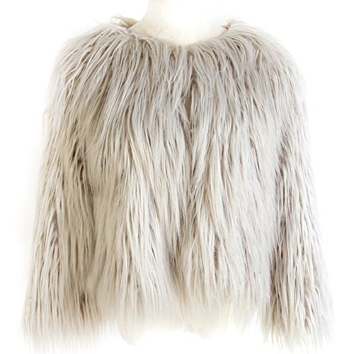 Dikoaina+Women%27s+Solid+Color+Shaggy+Faux+Fur+Coat+Jacket+%28US6%2C+Grey%29