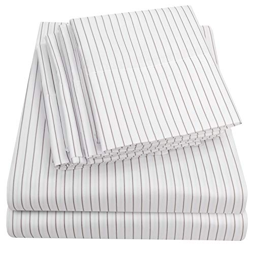 Sweet Home Collection Quality Deep Pocket Bed Sheet Set 2 EXTRA PILLOW CASES, VALUE, Queen, Pinstripe White, 6 Piece (Sets Bed Stripe)