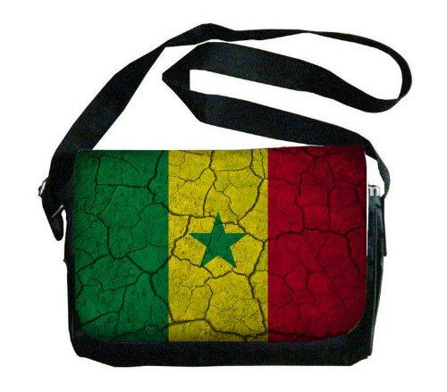 Senegal Flag Crackled Design Messenger Bag