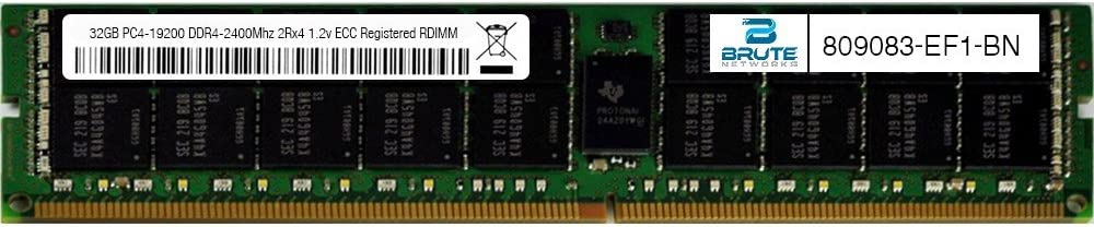 32GB PC4-19200 DDR4-2400Mhz 2Rx4 1.2v ECC Registered RDIMM Equivalent to OEM PN # 809083-EF1 Brute Networks 809083-EF1-BN