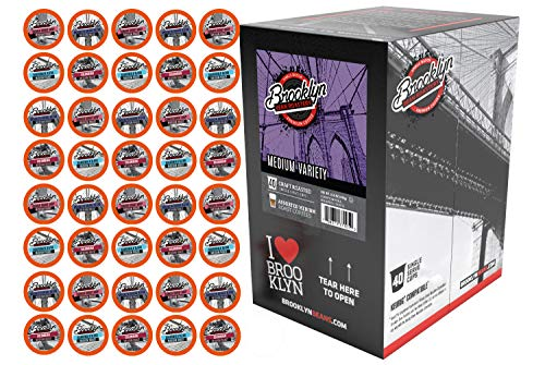 Brooklyn Beans Medium Roast Variety Pack Single-Cup Coffee for Keurig K-Cup Brewers, 40 Count