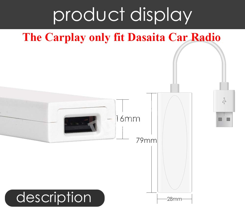 Amazon com: Dasaita USB Carplay Dongle for Car Android OS Navigation