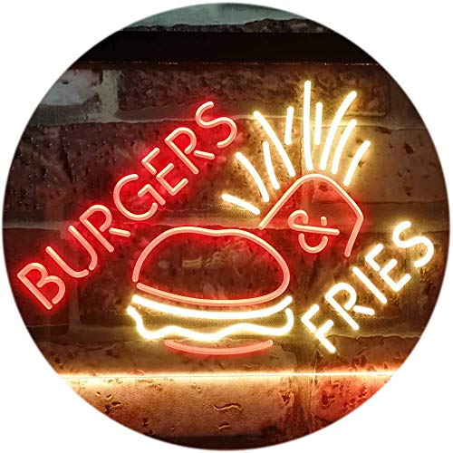 ADVPRO Burgers & Fries Fast Food Open Shop Dual Color LED Neon Sign Red & Yellow 16