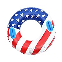 Greenery-GRE US Flag Inflatable Swimming Ring With Handles 35.4 inch Swim Pool Float Safe PVC Thickened Floating Ring Swim Tube Summer Fun Water Beach Toys Swim Trainer for Adults Kids