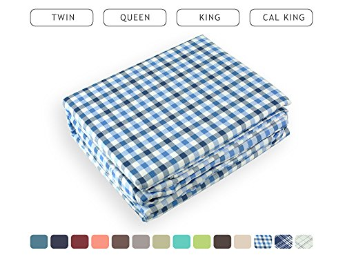 Luxe Bedding Bed Sheet Set - Brushed Microfiber 2000 Count Plaid - Wrinkle, Fade, Stain Resistant - Hypoallergenic - 4 Piece - Hotel Quality - Unique Presents for family (Queen, Plaid / Blue)
