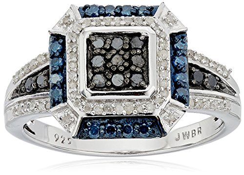 Sterling Silver with Blue and White Diamonds Square Shape Ring (1/2cttw, I-J Color, I3 Clarity), Size (White Diamond Square Ring)