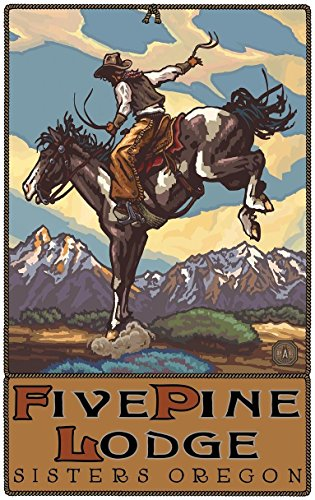 Five Pine Lodge Oregon Bucking Horse Cowboy Travel Art Print