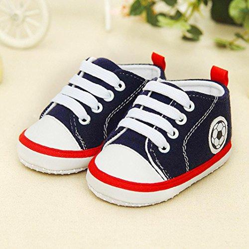 Huhu833 Kinder Mode Baby Schuhe Fußball Druck Turnschuh rutschfeste weiche alleinige Kleinkind Segeltuch Schuhe Dunkel Blau