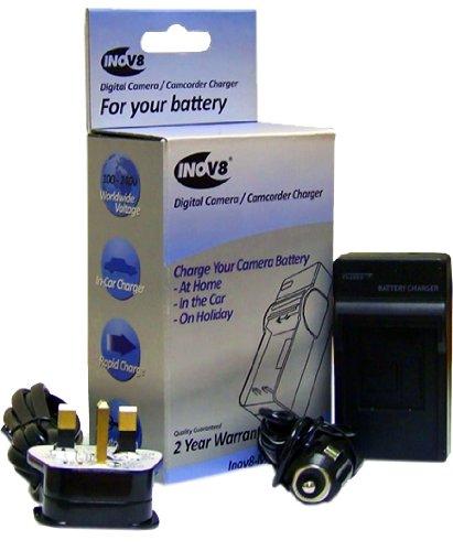 compatible con Panasonic Cargador de bater/ía de viaje con adaptador de coche de 12 V Inov8 DMW-BCG10E