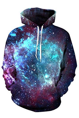 Timemory Unisex Blue Galaxy Printed Pockets Hoodie Sweatshirt XXL Print #24 (Santa Hoodie)
