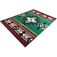 Champion Rugs Southwestern Native American Carpet Area Rug Geometric Green (8 Feet X 10 Feet)