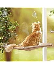 MMBOX Kattenbedraam, Kattenraamzitbed, hangmat ruimtebesparend ontwerp met 1pc kattenspeelgoed 1pc extra zuignap kattenplank rondom 360° zonnebad houdt tot 50 pond voor elke kattenmaat