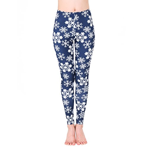 Printed Brushed Leggings Idingding Women's Autumn Winter Snowflake Graphic Stretchy Warm Leggings Tights, Navy Snowflake, L