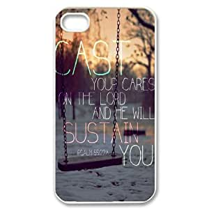 wugdiy Personalized Durable Case Cover for iPhone 4,4S with Brand New Design Bible Verses Christian Quotes