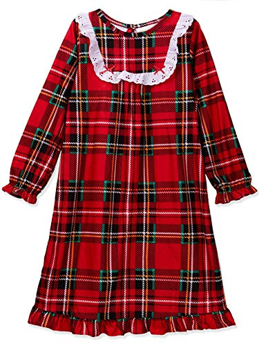 Komar Kids Peas & Carrots Toddler Girls Plaid Christmas Holiday Nightgown Pajamas (3T, Toddler Red)