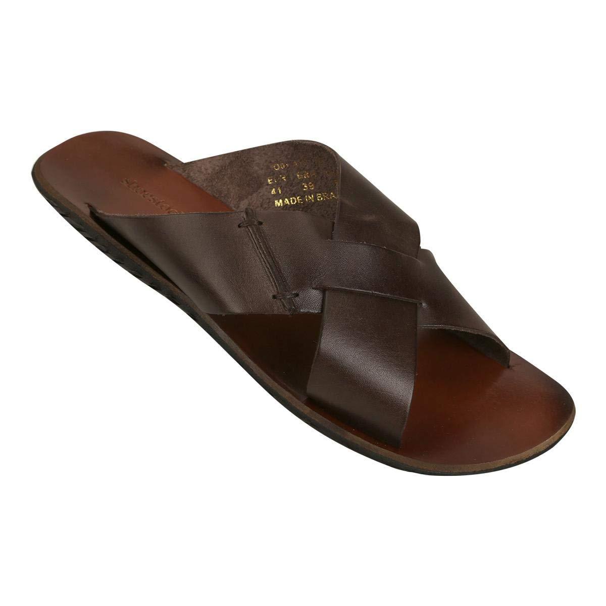 3d06d479c Chinelo Couro Shoestock Tiras Cruzadas Masculino - Café - 37:  Amazon.com.br: Amazon Moda