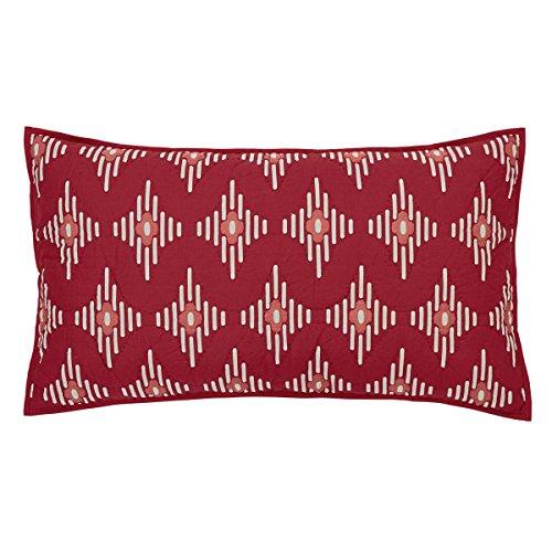 - VHC Brands Coastal Bedding - Paloma Red Sham, King, Crimson