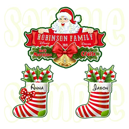 Personalized Disney Christmas Santa Banner Magnet | Disney Cruise Door Magnet | Christmas Stockings Mickey Minnie]()