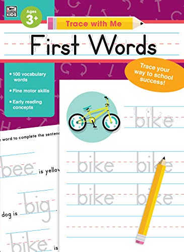 Carson Dellosa - First Words Activity Book for PK, K, 1st, 2nd Grade, Paperback, 128 Pages, Ages 3+ (Trace with Me)