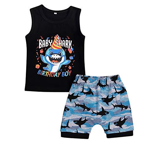 Baby Boy Girl Birthday Shark Doo Doo Doo Outfits Infant Boy Sleeveless Tops and Short Pants (Black-B, 2-3 Years)]()